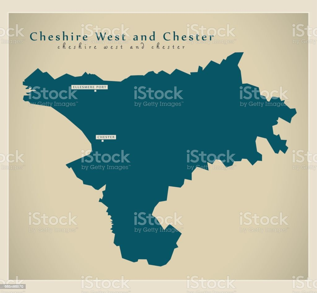Modern Map Cheshire West And Chester Unitary Authority England Uk