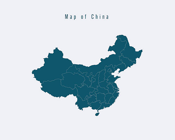 modern map -china  with federal states - china map stock illustrations, clip art, cartoons, & icons