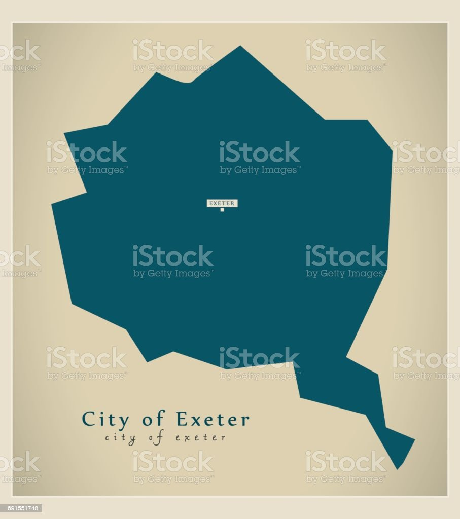Modern Map City Of Exeter District Uk Stock Vector Art More Images