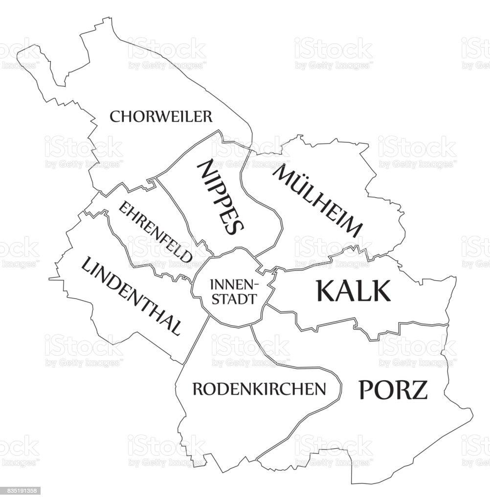 Köln Karte Deutschland.Moderne Karte Köln Stadt Von Deutschland De Stock Vektor Art Und