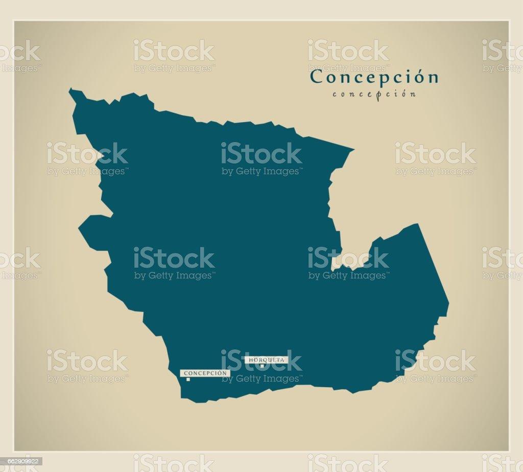 Modern Map - Concepcion PY vector art illustration