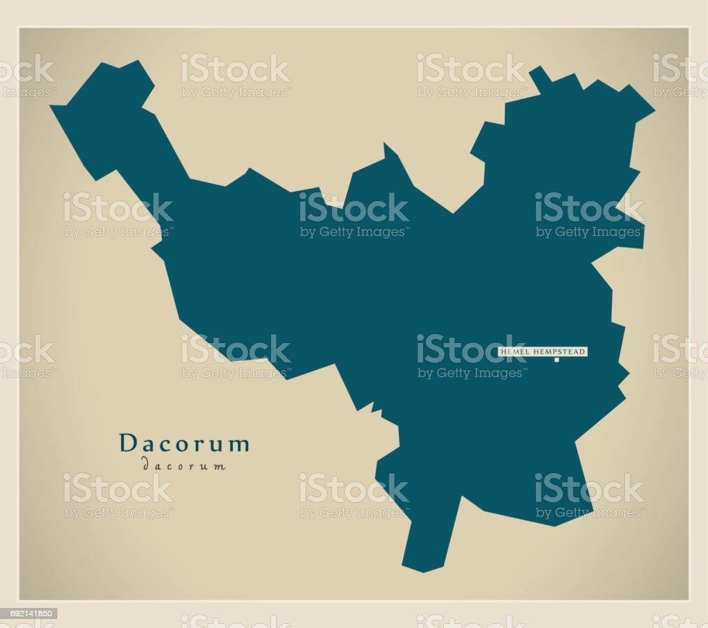 Modern Map - Dacorum district UK illustration vector art illustration