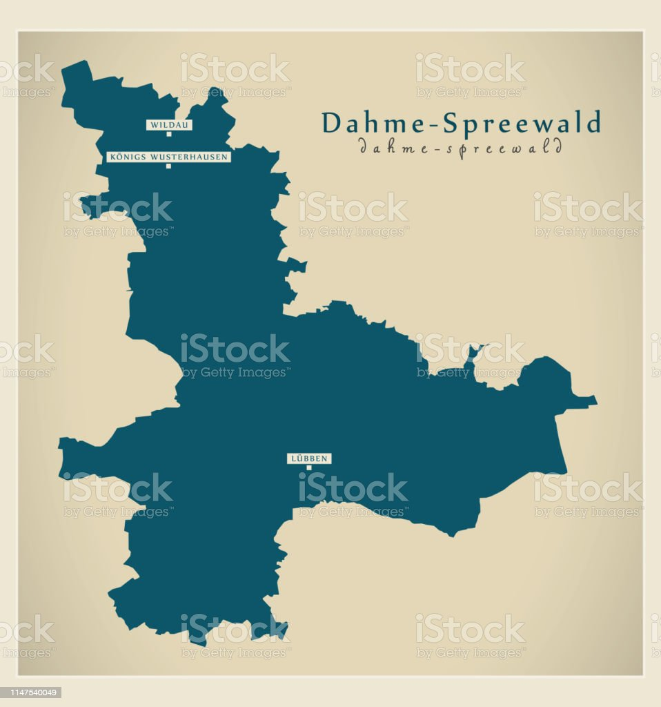 Land Brandenburg Karte.Moderne Kartedahmespreewald Landkreis Brandenburg De Stock Vektor