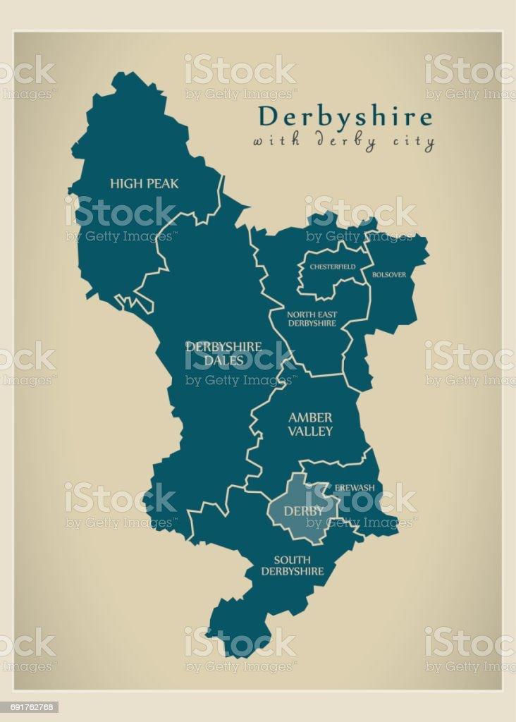 Carte Angleterre Derby.Carte Moderne Derbyshire Avec Derby Ville Et District De