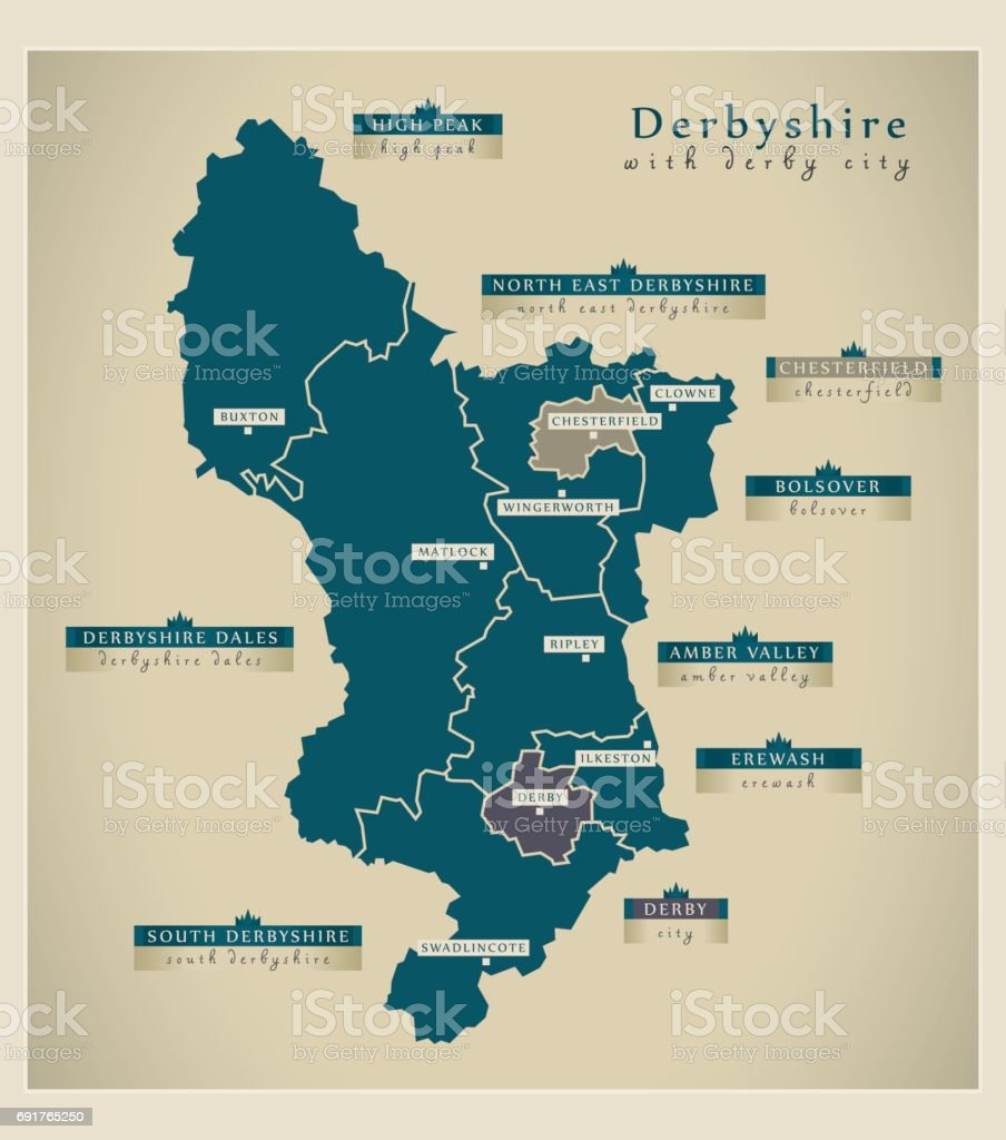 Map Of Uk Derby.Modern Map Derbyshire With Derby City And Labels Uk Stock