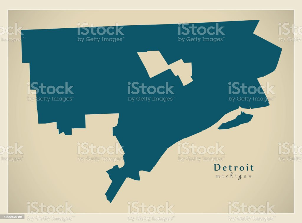 Modern Map Detroit Michigan City Of The Usa Stock Vector Art & More ...