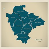 istock Modern Map - Devon county with detailed districts UK 691771722