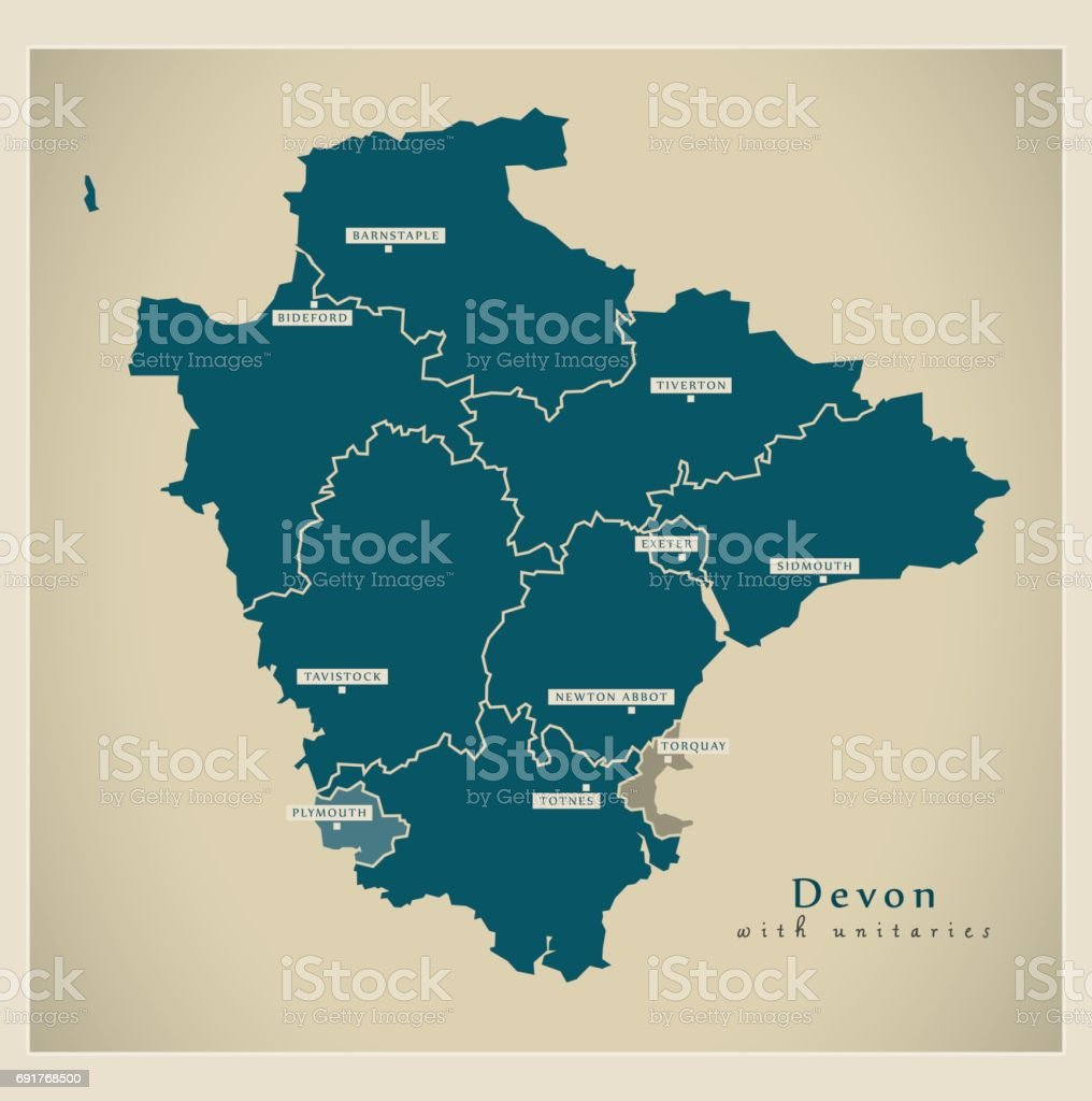 Map Of England Districts.Modern Map Devon County With Unitaries And Districts Uk Stock Illustration Download Image Now