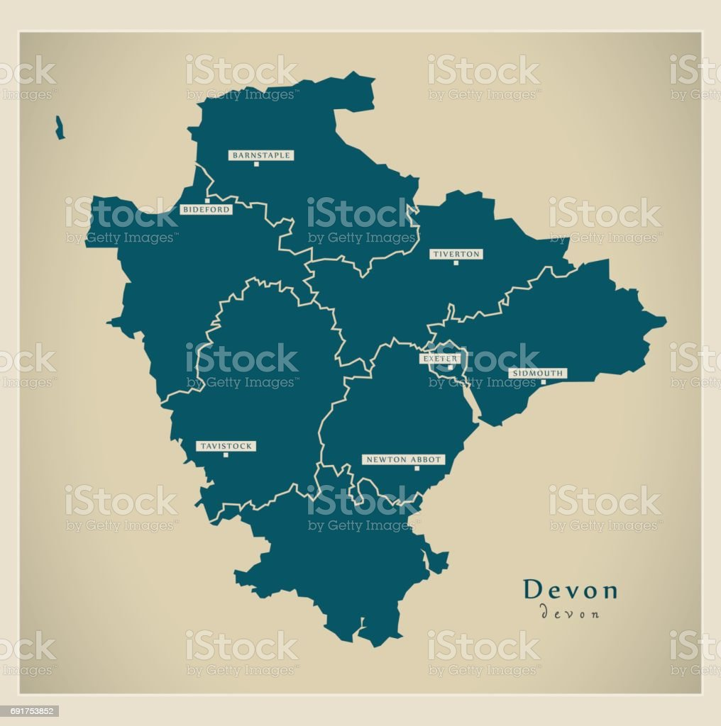 modern map devon with districts uk royalty free modern map devon with districts uk