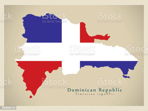 Modern Map - Dominican Republic colored DO illustration silhouette