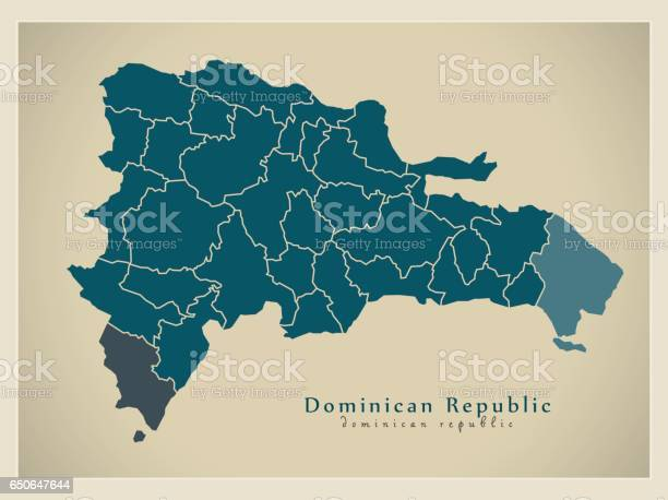 Modern Map - Dominican Republic with provinces DO illustration silhouette