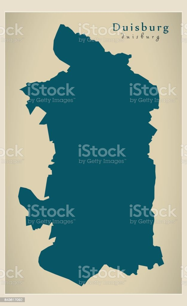 Modern Map Duisburg City Of Germany De stock vector art 843617092