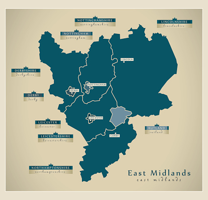 Ilustración de Modern Map East Midlands Uk y más Vectores Libres de Derechos de Este