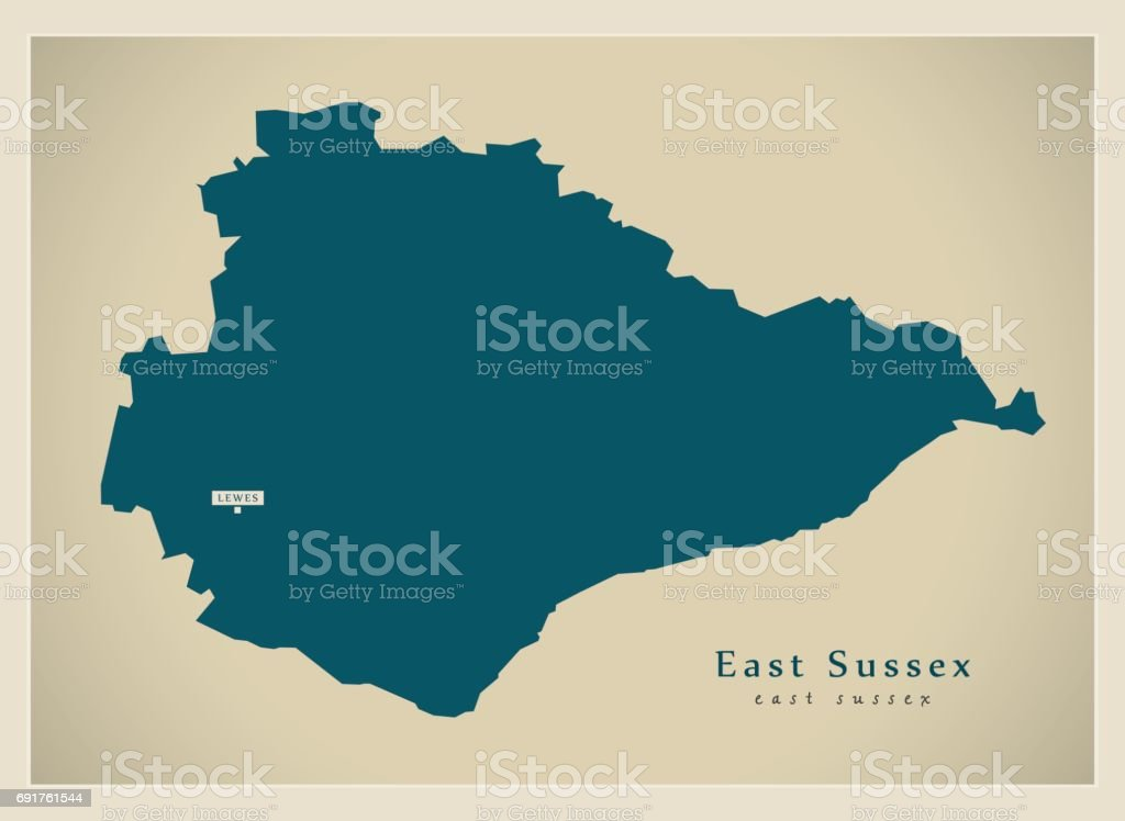 Modern Map East Sussex County Uk Stock Vector Art More Images Of