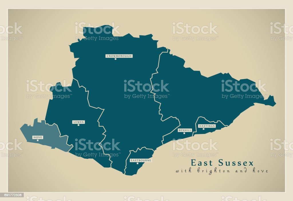 Modern Map East Sussex County With Brighton And Hove Uk Stock Vector