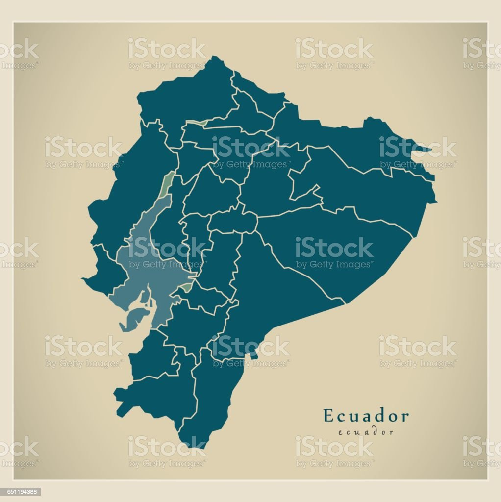 Modern Map - Ecuador with provinces EC illustration silhouette vector art illustration