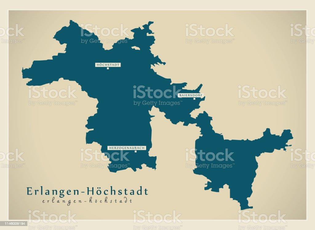 Erlangen Karte Deutschland.Moderne Kartekreis Erlangenhochstadt Bayern De Stock Vektor
