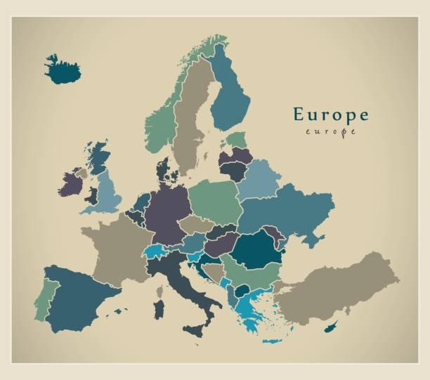 Moderne Karte - Europa komplett mit Ländern gefärbt – Vektorgrafik