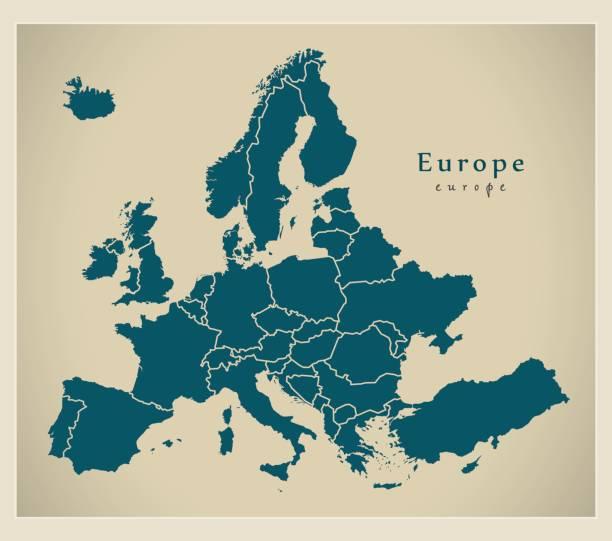Moderne Karte - Europa komplett mit Ländern – Vektorgrafik
