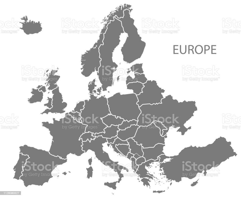 Kosovo Karte 2019.Moderne Karte Europa Mit Aktualisierten Staaten Ab 2019 In Grau
