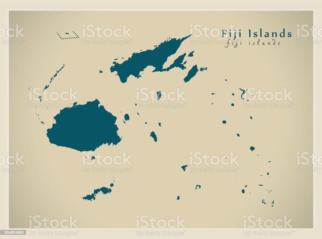 Ilustracion De Mapa Moderno Islas Fiji Fj Y Mas Vectores