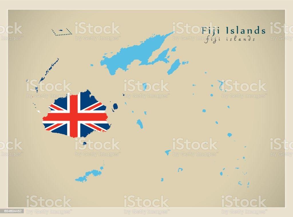 Ilustracion De Mapa Moderno Islas Fiji Fj Color De La