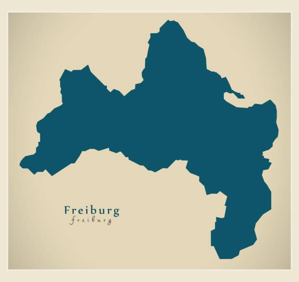 moderne karte - freiburg stadt von deutschland de - schwarzwald stock-grafiken, -clipart, -cartoons und -symbole