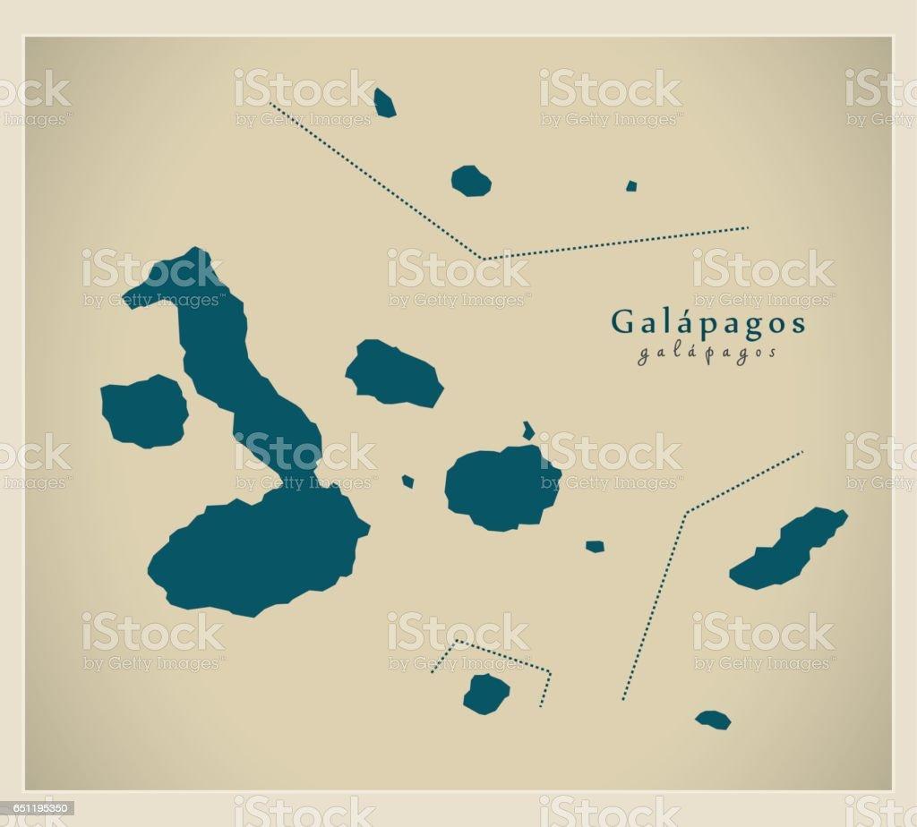 Modern Map Galapagos Islands Ec Illustration Silhouette