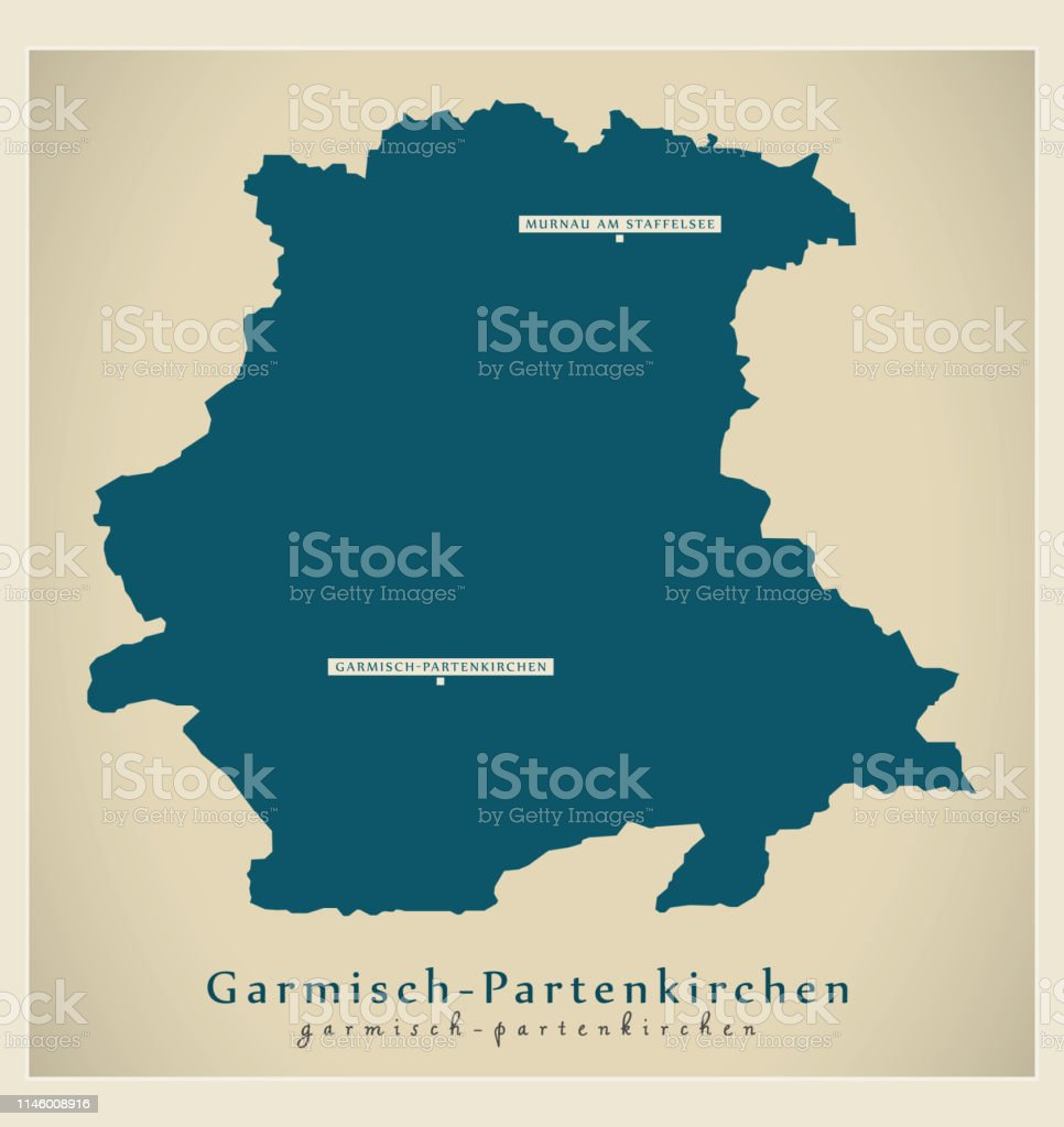 Map Of Germany Garmisch.Modern Map Garmischpartenkirchen County Of Bavaria De Stock