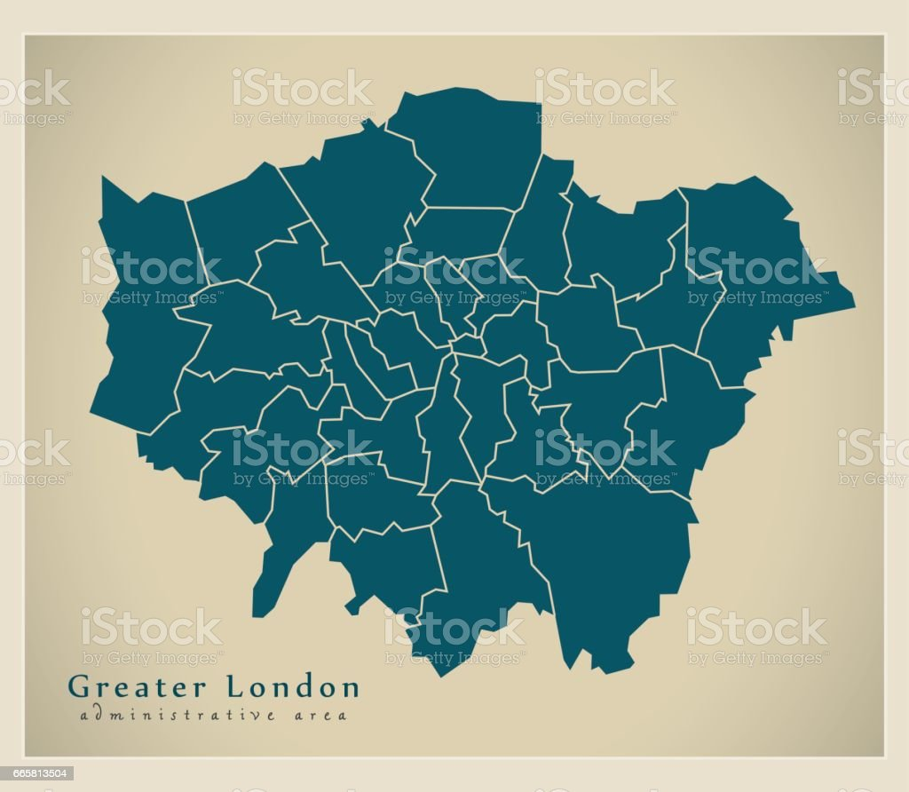 Modern Map - Greater London administrative area with districts UK vector art illustration