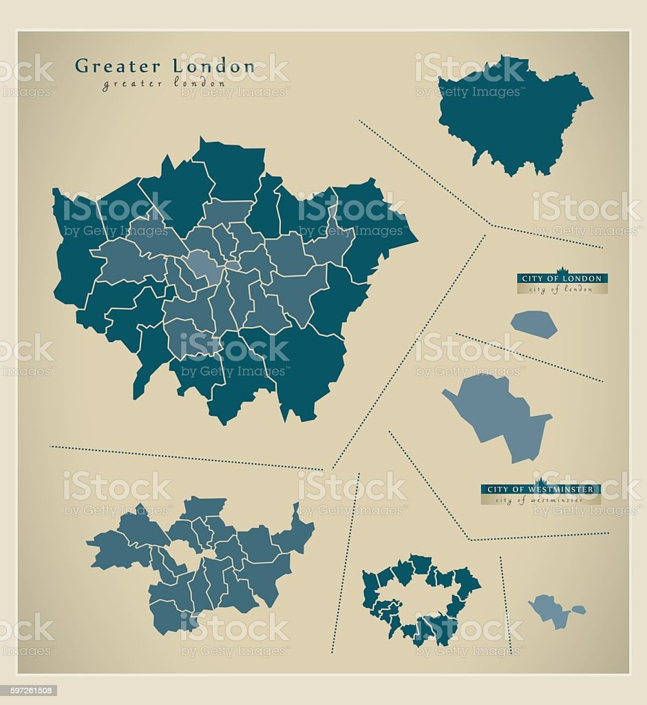 Modern Map - Greater London UK vector art illustration