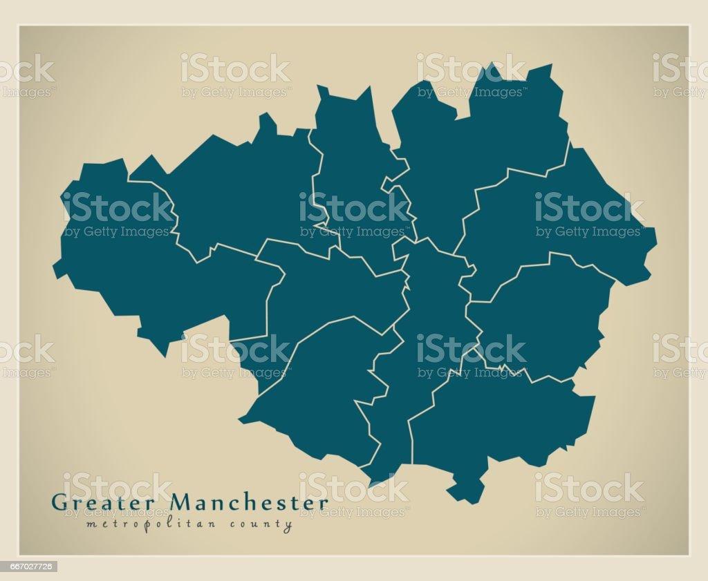 Modern Map - Greater Manchester metropolitan county UK vector art illustration