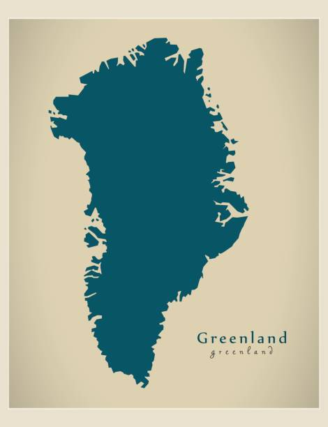 Modern Map - Greenland GL Modern Map - Greenland GL greenland stock illustrations