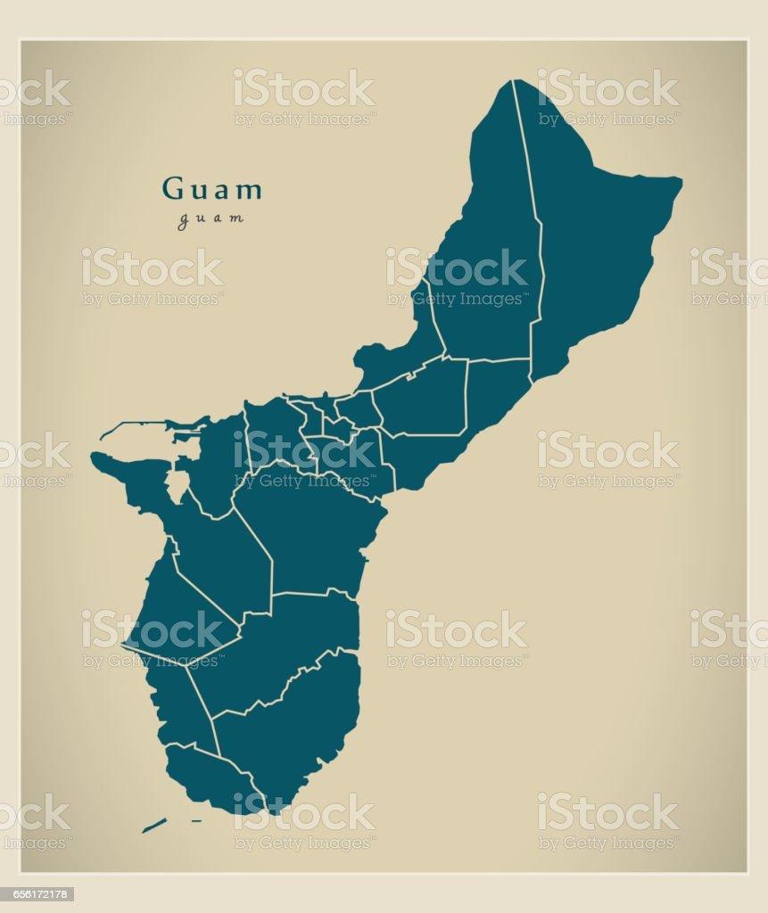 guam karta Moderna Karta Guam Med Distrikten Gu vektorgrafik och fler bilder  guam karta