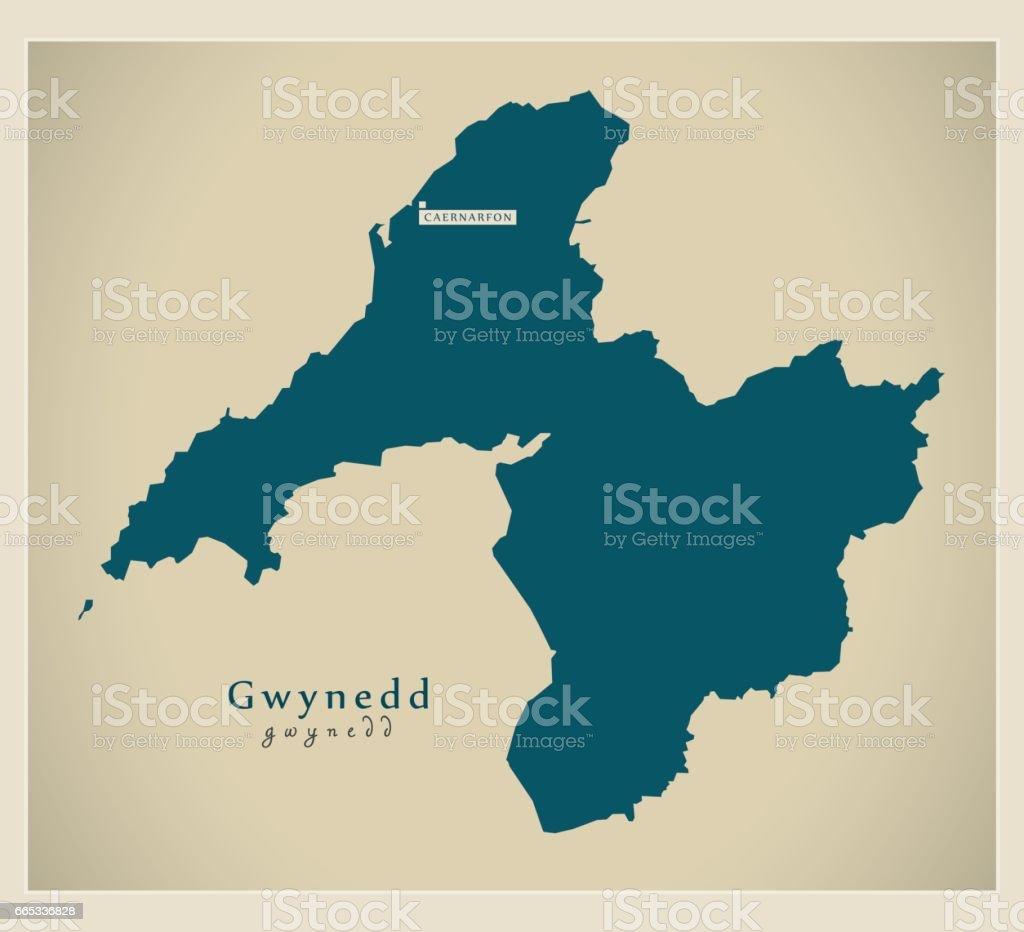 Modern Map - Gwynedd Wales UK vector art illustration