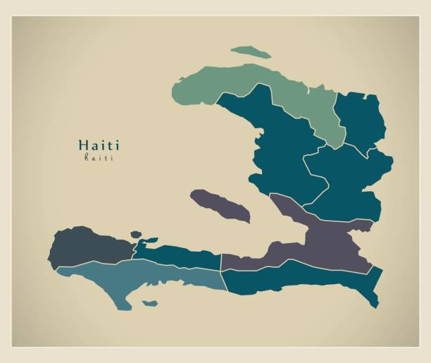 Modern Map - Haiti with departments HT Modern Map - Haiti with departments HT haiti stock illustrations