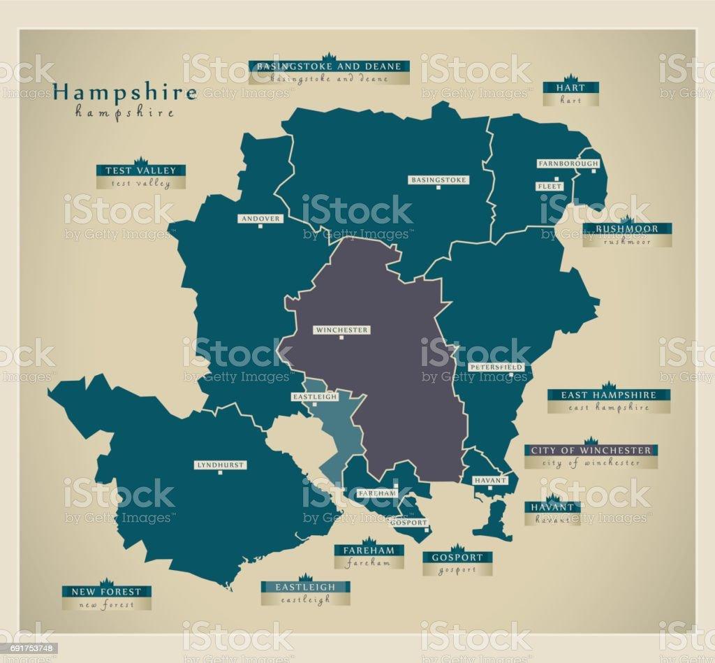 Modern Map - Hampshire county details UK vector art illustration