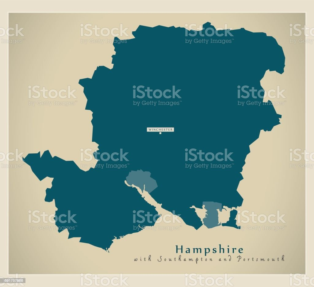 Modern Map - Hampshire county including Southampton and Portsmouth UK illustration vector art illustration