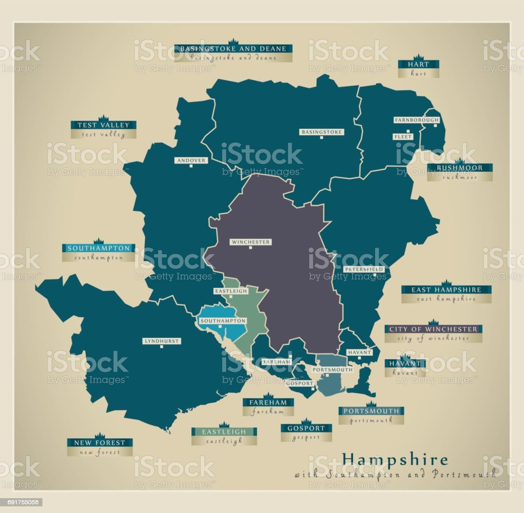 Modern Map - Hampshire county with details including Southampton and Portsmouth UK illustration vector art illustration
