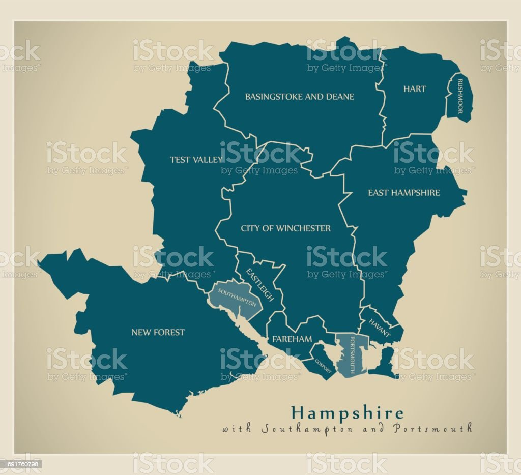 Modern Map - Hampshire county with labels including Southampton and Portsmouth UK illustration vector art illustration