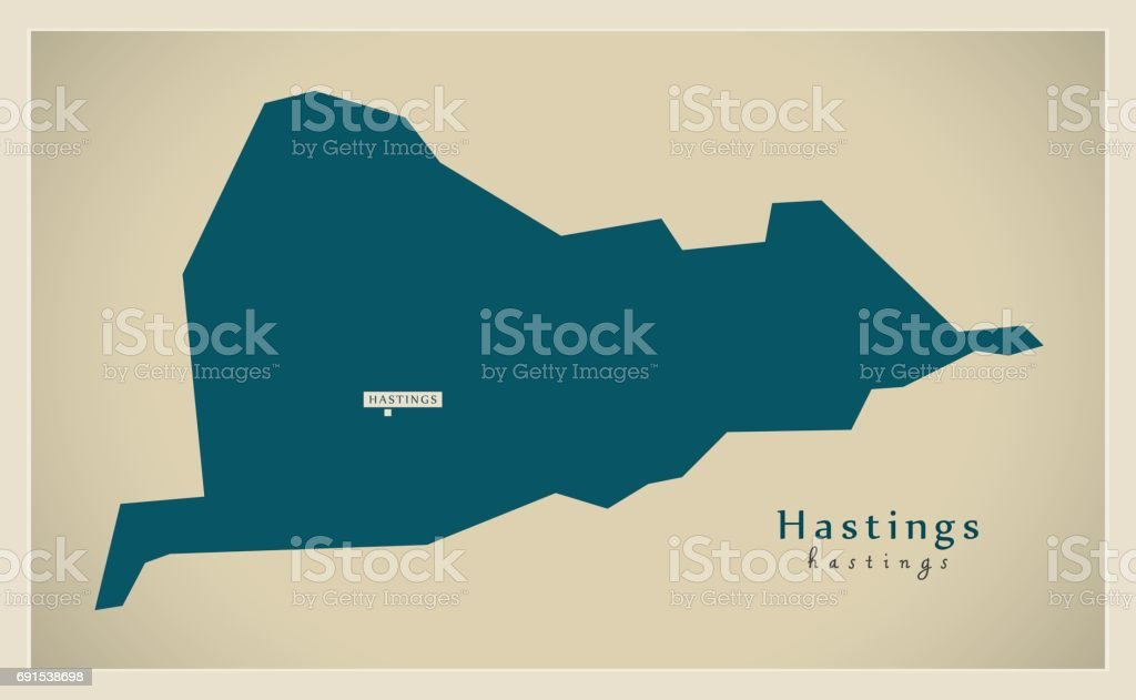 Modern Map Hastings District Uk Stock Vector Art 691538698 Istock