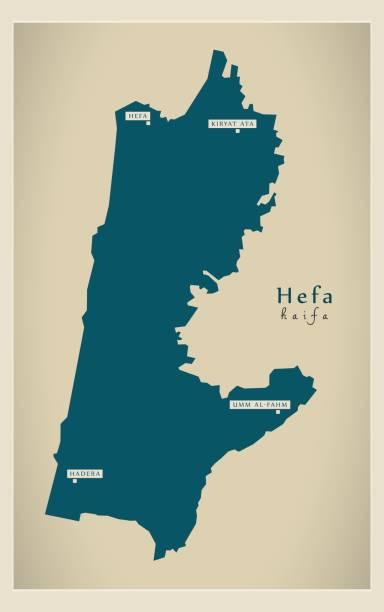 moderne karte - hefa il - haifa stock-grafiken, -clipart, -cartoons und -symbole