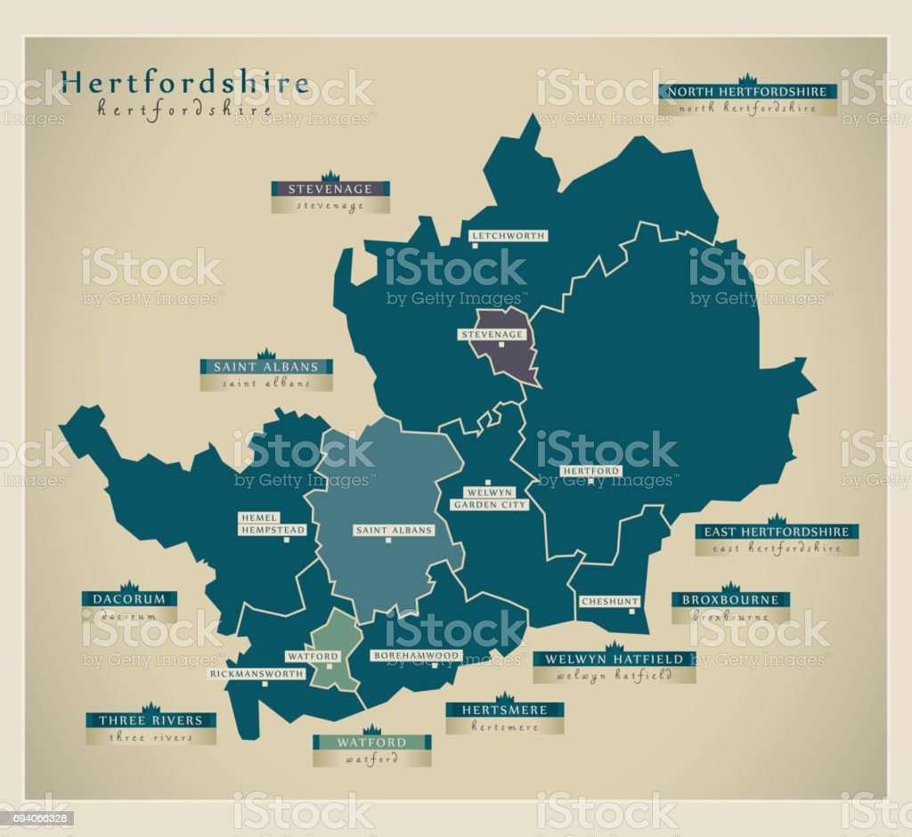 Modern Map - Hertfordshire county with district details UK illustration vector art illustration