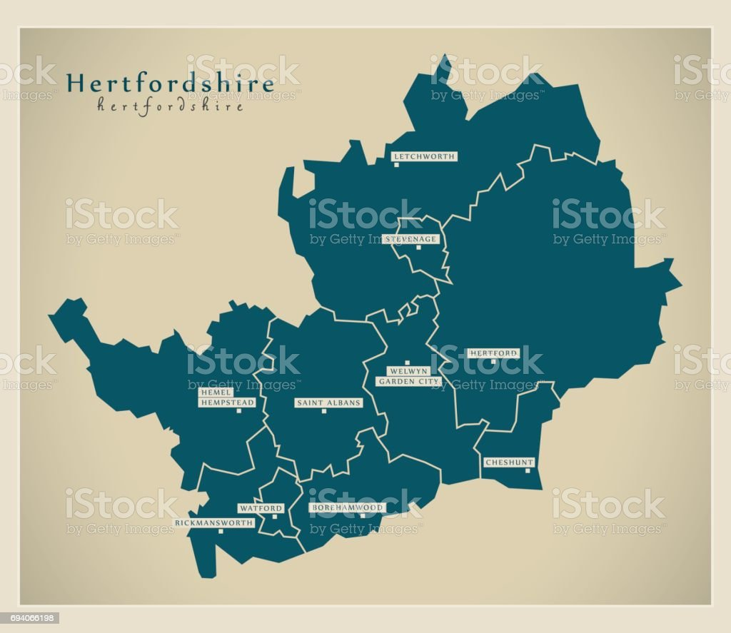 Modern Map - Hertfordshire county with districts UK illustration vector art illustration