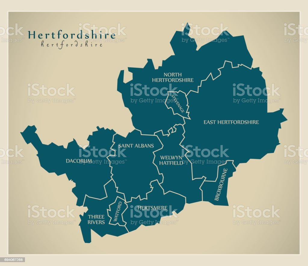 Modern Map - Hertfordshire county with labels UK illustration vector art illustration