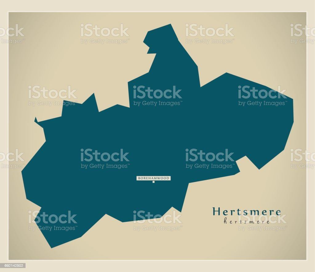 Modern Map - Hertsmere district UK illustration vector art illustration
