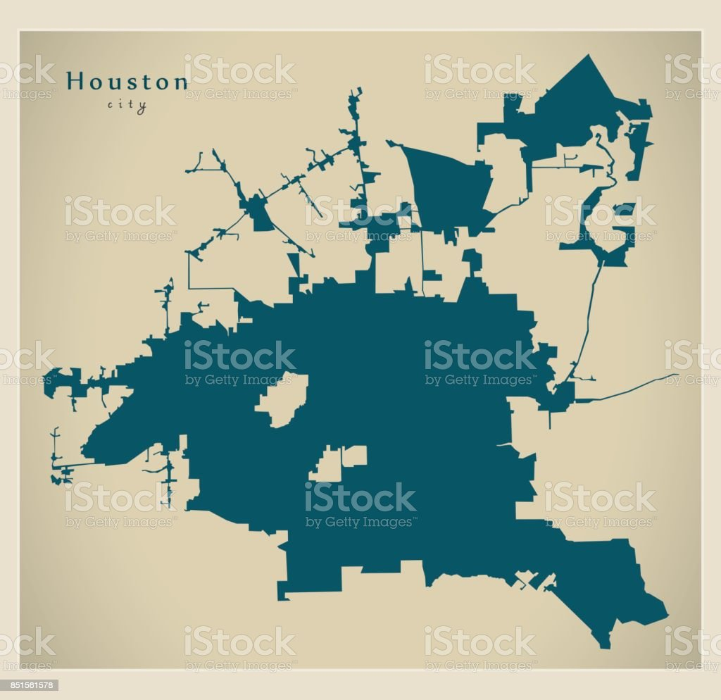 Modern Map Houston City Of The Usa Stock Vector Art More Images Of