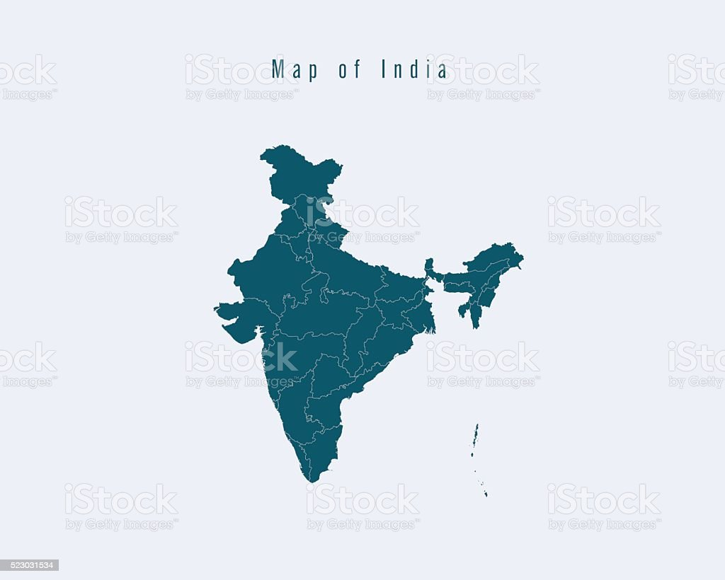 Modern Map -India  with federal states vector art illustration