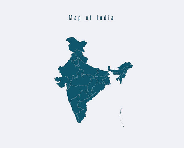 modern map -india  with federal states - indian stock illustrations, clip art, cartoons, & icons