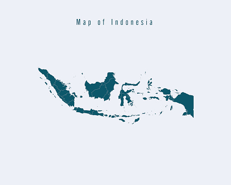Modern Map -Indonesia  with federal states